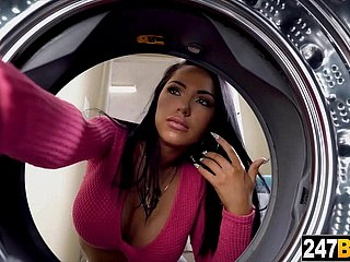 Latina Housewife rendering laundry