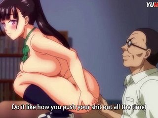 HENTAI\u00b7  Teen big tits fucks a old dick to get cum inside