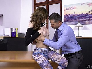 Alluring beauty Gisha Forza gets bent over the table for hard anal